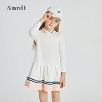 【2件4折价:107.6】安奈儿童装女童春季连衣裙学院风2021新款女孩网红裙子洋气公主裙