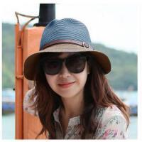 女士遮阳帽 太阳帽草帽草编小礼帽海 边度假沙滩帽子 情侣潮