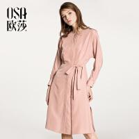 ⑩OSA【满200减100,上不封顶】欧莎2018春装新款女装收腰系带连衣裙A13007