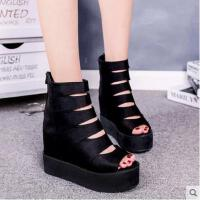 罗马鞋鱼嘴网红凉鞋女士百搭厚底松糕鞋内增高跟凉靴