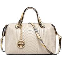 白色包包女2018新款时尚气质真皮手提包女士牛皮包波士顿包 米白色