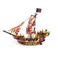 拼装插小颗粒塑料积木 6-8-12岁儿童男孩益智玩具 海盗船模型