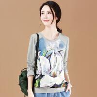 针织衫 女士时尚宽松印花针织衫2020韩版春秋女式圆领长袖T恤学生休闲上衣