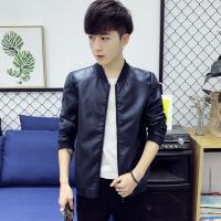 韩版短款皮衣外套男士青少年机车PU皮夹克薄款潮 DJS1585