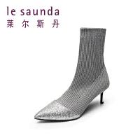 【全场3折】莱尔斯丹 2019新款秋冬尖头细高跟�l靴袜子靴女弹力短靴66107