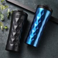 定制刻字304不规则菱形保温杯异形双层不锈钢真空创意商务咖啡杯 500ml