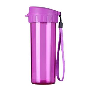 特百惠轻盈茶韵水杯380ml塑料带茶隔时尚随手心杯子茶杯  野莓紫