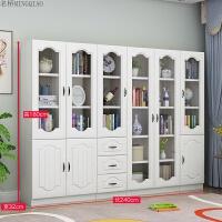 现代简约欧式书柜书架文件柜自由组合落地书橱带玻璃门办公储物柜 0.6米宽