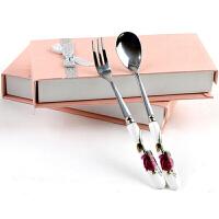 陶瓷雕花餐具不锈钢叉勺两件套 花色随机