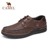 camel骆驼男鞋 秋季新品日常休闲防滑皮鞋商务通勤上班系带牛皮鞋