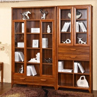 书柜 实木 储物柜带门 书厨书架 玻璃柜子自由组合格子柜简约现代