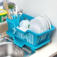 厨房置物架 塑料加厚滴水碗碟收纳架 滤水沥水碗碟架 正面漏水