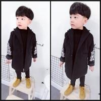 2017秋款中女男儿童装潮宝宝外套呢子大衣2-3-56岁毛呢风衣外套 lb 白绣袖黑大衣