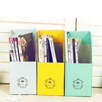 DIY桌面收纳盒学生桌面书本纸质书立书桌 纯色加厚加固甜蜜糖果色桌面文件杂志收纳盒杂志收纳盒
