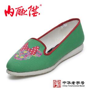 内联升女鞋手工千层底时尚绿底【迪士尼米妮】老北京布鞋8244A