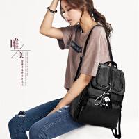 软皮质感双肩包女韩版2018新款学生女包包妈咪背包