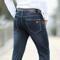 909春装新款吉普JEEP商务休闲男士牛仔裤 中高腰牛仔长裤 弹力直筒牛仔裤 深蓝色