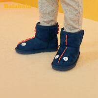 巴拉巴拉女童短靴儿童雪地靴男童2019冬季新款靴子小童鞋保暖卡通