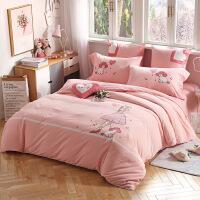 儿童水洗棉床单四件套A类纯棉卡通绣花被套套件床上用品三件套