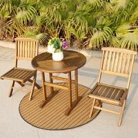 露天庭院户外家具实木桌椅阳台桌椅田园休闲家具柚木折叠椅三件套 格萨折叠一桌二椅