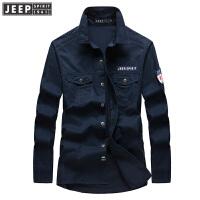2018秋装新款吉普JEEP男士长袖衬衫纯棉尖领大码 RSC017男衬衣潮