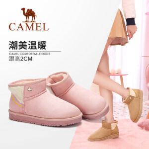 Camel/骆驼女鞋 2018冬季新品时尚甜美舒适靴子套筒低跟雪地靴女
