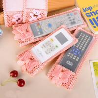 韩式小清新机顶盒遥控器套布艺保护套电视遥控器收纳盒蕾丝空调保护套防尘罩
