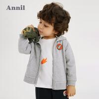 【1件5折价:209.5】安奈儿男童春季套装2021新款洋气恐龙幼儿宝宝外套裤子两件套春秋