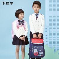 卡拉羊抑菌书包女1-4年级小学生双肩包男儿童减负防水背包韩版潮