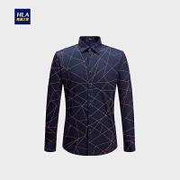HLA/海澜之家时尚花纹长袖衬衫舒适加绒保暖衬衫男