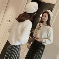 2018春季新款韩版花朵刺绣毛衣女套头灯笼袖针织衫上衣3483 杏色 均码