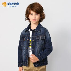 英格里奥2018秋装新品男童牛仔外套10岁中大童儿童大码单排扣夹克