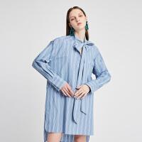 【仅限12.8一天 比双12更优惠 到手价:950元】DAZZLE地素 2019春装新款休闲条纹系带领连衣裙女 2G1
