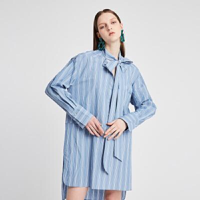 【仅限12.8一天 比双12更优惠 到手价:950元】DAZZLE地素 2019春装新款休闲条纹系带领连衣裙女 2G1O6192S