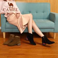camel骆驼女鞋冬季新款短靴 时尚休闲韩版百搭靴子女羊�S粗跟女靴