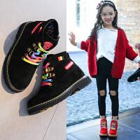 �和��R丁靴女童短靴2018秋季新款二棉鞋子秋冬皮靴加�q男童靴子靴
