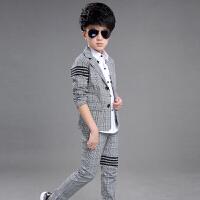 童话元素韩版童装春秋季英伦男童西装格子套装三件套西服花童礼服
