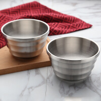 铁碗304不锈钢碗带盖家用吃饭儿童小碗双层防烫饭碗汤碗 2支装金尊碗