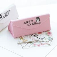 包邮便携式三角折叠眼镜盒简约男女韩国可爱学生小清新太阳镜墨镜盒复古