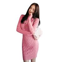 2018秋冬新款韩版女装双排扣立领修身长袖针织连衣裙女包臀毛衣裙