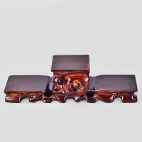 红木工艺品根雕小摆件玉石盆景紫砂茶壶圆形实木底座奇石头杂木托