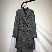 女装 2018春时尚欧美风格子双排扣中长款毛呢大衣气质呢外套