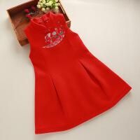 女童中国风连衣裙春秋唐装刺绣旗袍毛呢背心裙儿童新年公主裙子 红色 不含毛领