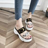松糕运动底拖鞋水钻搭配外穿凉拖鞋一字型套脚凉拖鞋女拖