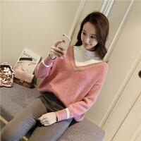 网红毛衣女春季韩版宽松假两件兔毛拼接套头半高领打底衫4256 均码