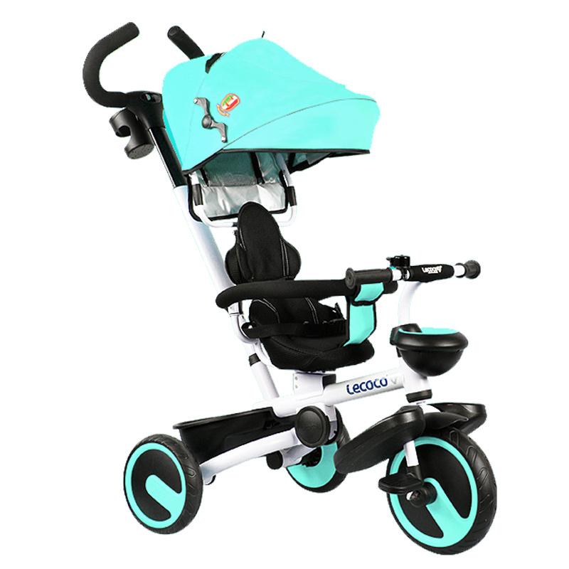 Lecoco乐卡儿童三轮车1-6岁折叠脚踏车遛娃溜娃神器手推车宝宝2018新款升级 一键折叠 座位可旋转