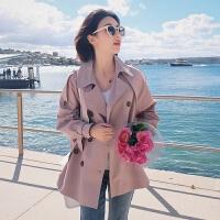 小个子风衣女中长款修身显瘦2018韩版百搭港风收腰外套女 粉紫色 S