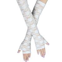 夏季防晒手套半指长款蕾丝手套女式开车薄款防晒臂套防紫外线手袖