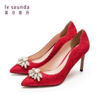 莱尔斯丹 春季水钻尖头细高跟鞋服款婚鞋新娘鞋单鞋9T94417