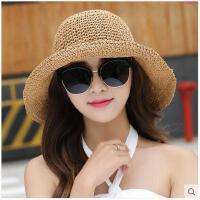 可折叠透气凉帽出游休闲帽遮阳帽女夏天太阳帽大沿草帽防晒沙滩帽